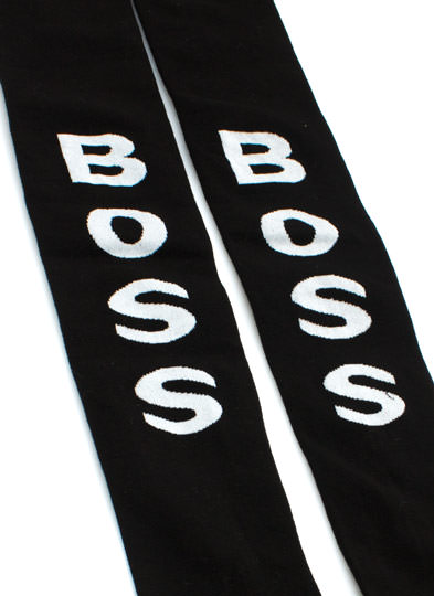 Boss You Up Striped Thigh High Socks BLACK (Final Sale)