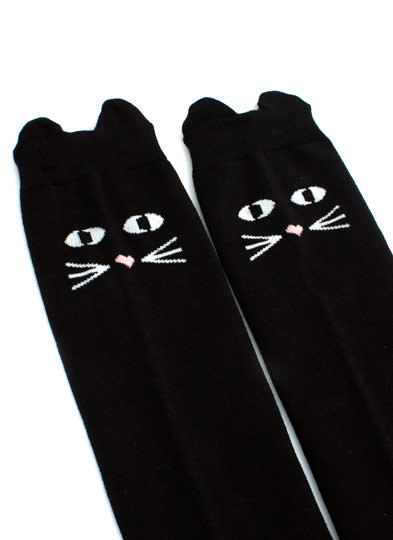 Play By Ear Thigh-High Cat Socks BLACK