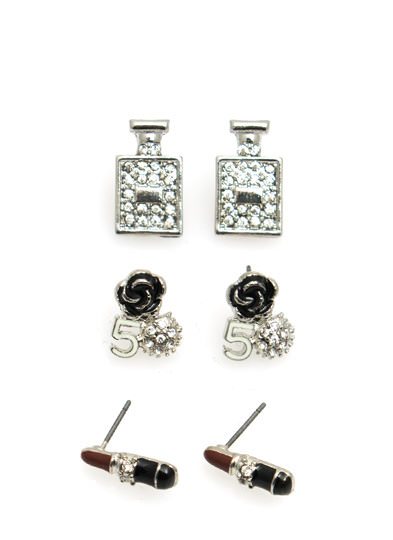 Lipstick And Perfume Earring Set SILVER