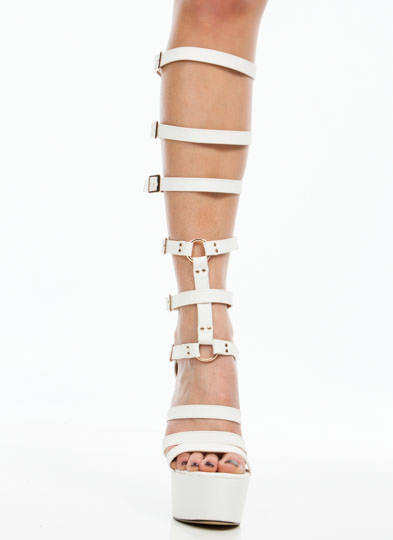 Fasten Those Straps Gladiator Heels WHITE