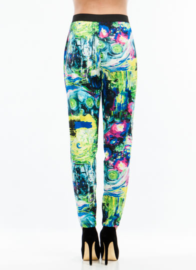 Impressionism Printed Trousers GREENBLUE