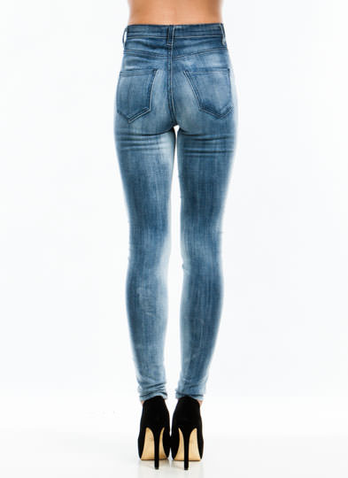 Set In Stone Wash High-Waisted Jeans BLUE (Final Sale)