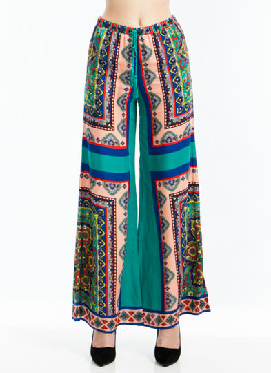 Scarf Face Printed Palazzo Pants TURQUOISE