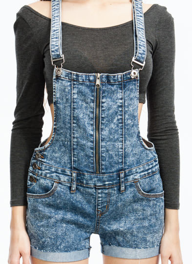 Zip In Zip Out Overall Shorts BLUE