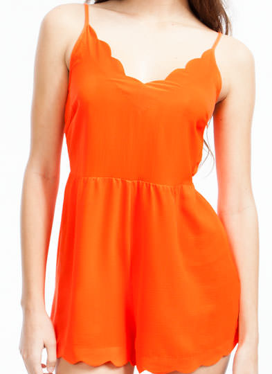 Scalloped Peek-A-Boo Romper ORANGE