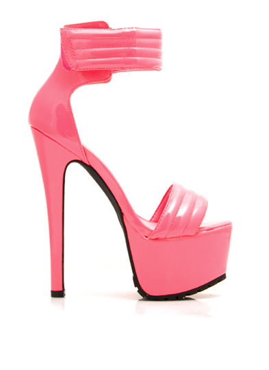 Faux Patent Stitched Moto Heels PINK (Final Sale)
