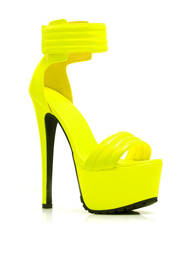 Faux Patent Stitched Moto Heels YELLOW