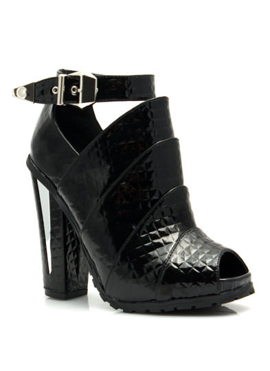 Armored Faux Patent Quilted Booties BLACK
