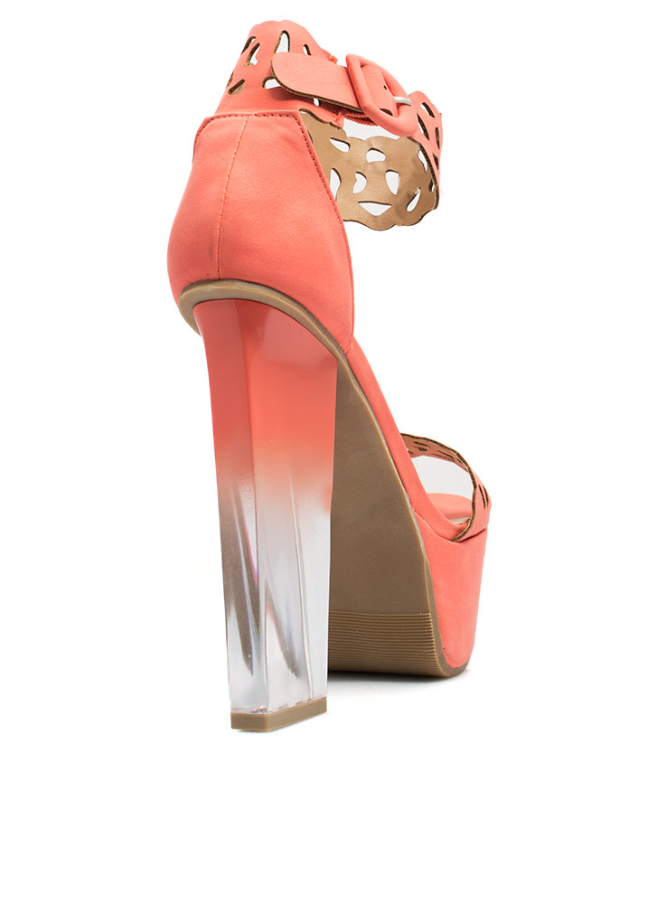 Clear Proof Laser Cut-Out Heels CORAL