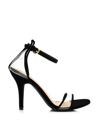 Clear The Way Ankle Strap Heels BLACK