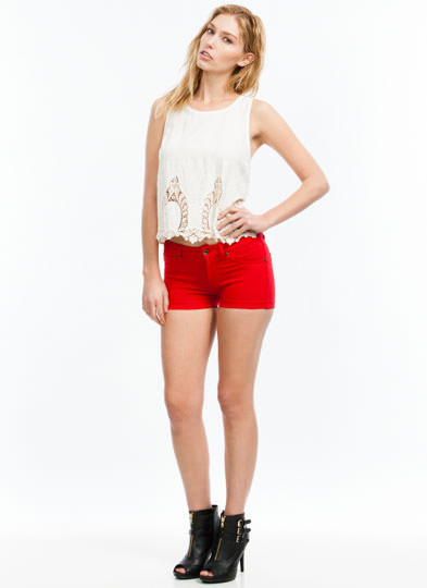 Basic Babe Solid Shorts RED