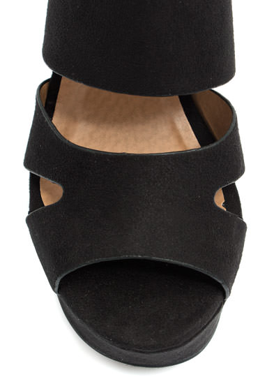 Buckle Your Shoe Strappy Wedges BLACK