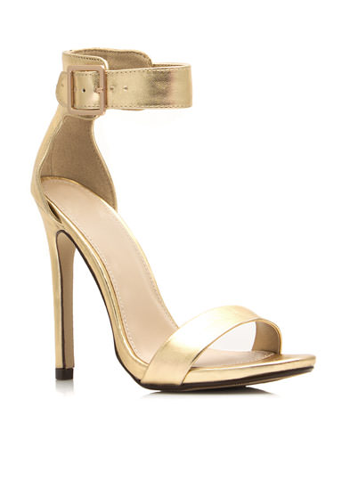 Strapped On Metallic Heels GOLD
