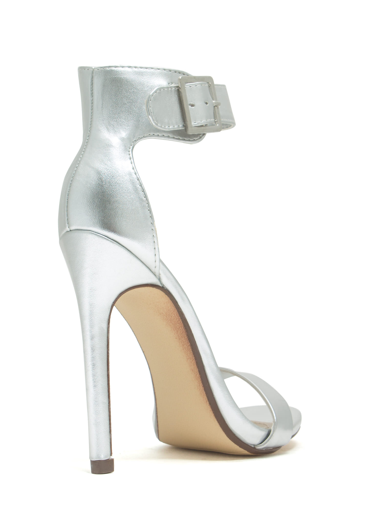 Strapped On Metallic Heels SILVER