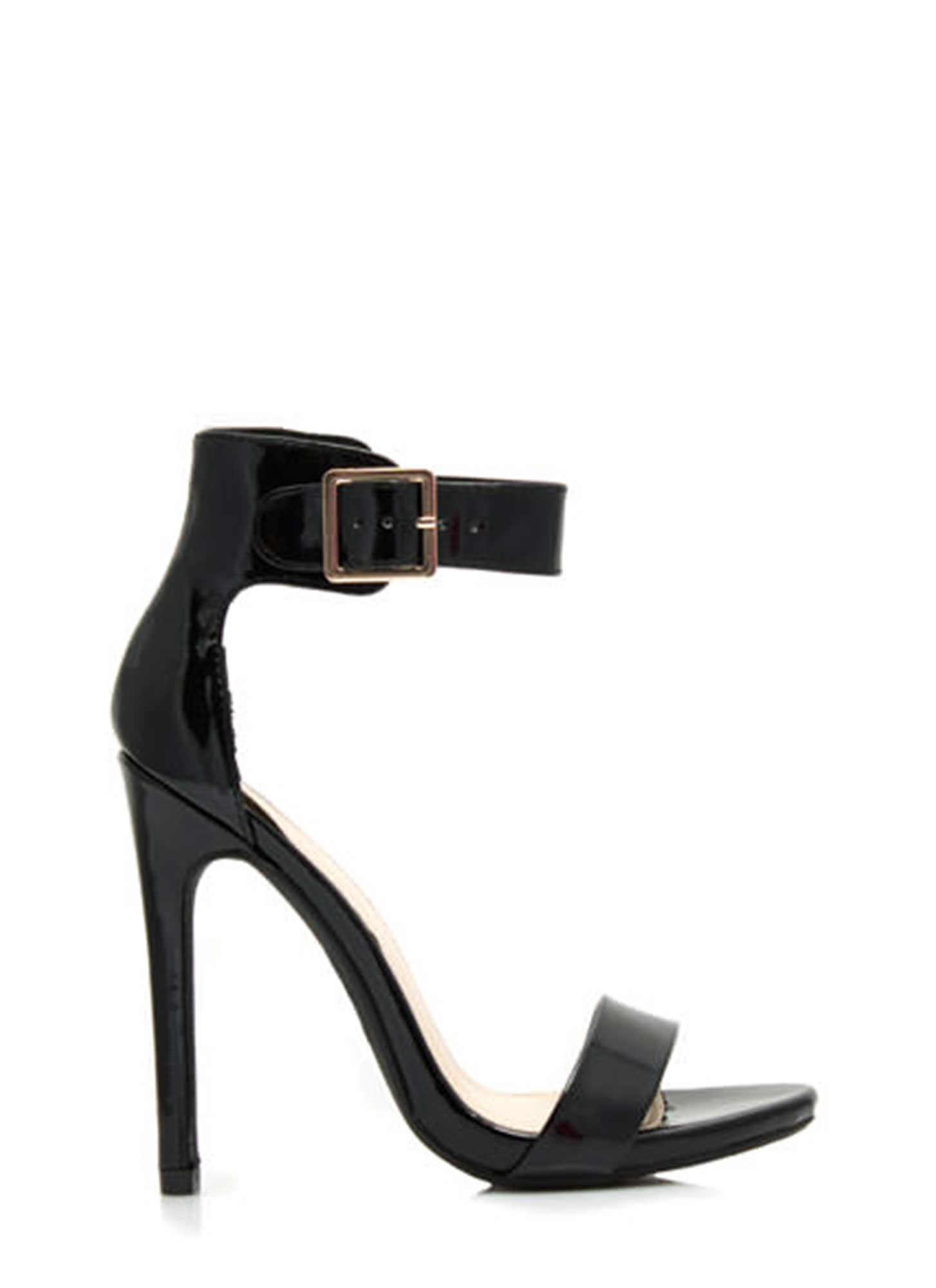 Strapped On Faux Patent Heels BLACK