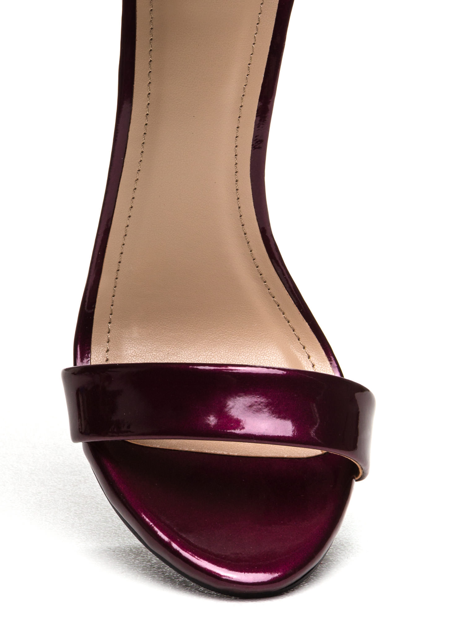 Strapped On Faux Patent Heels BURGUNDY