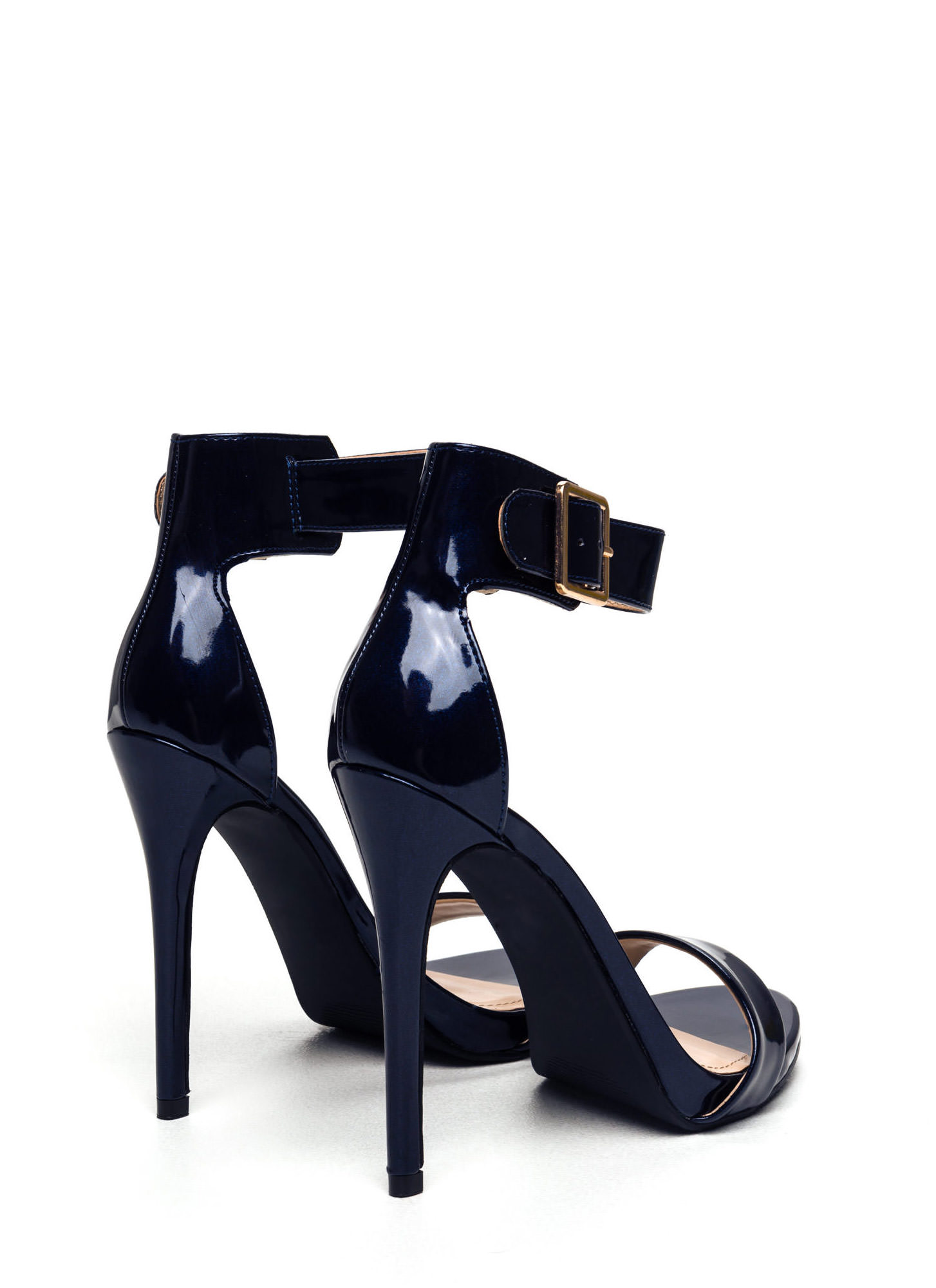 Strapped On Faux Patent Heels DKBLUE