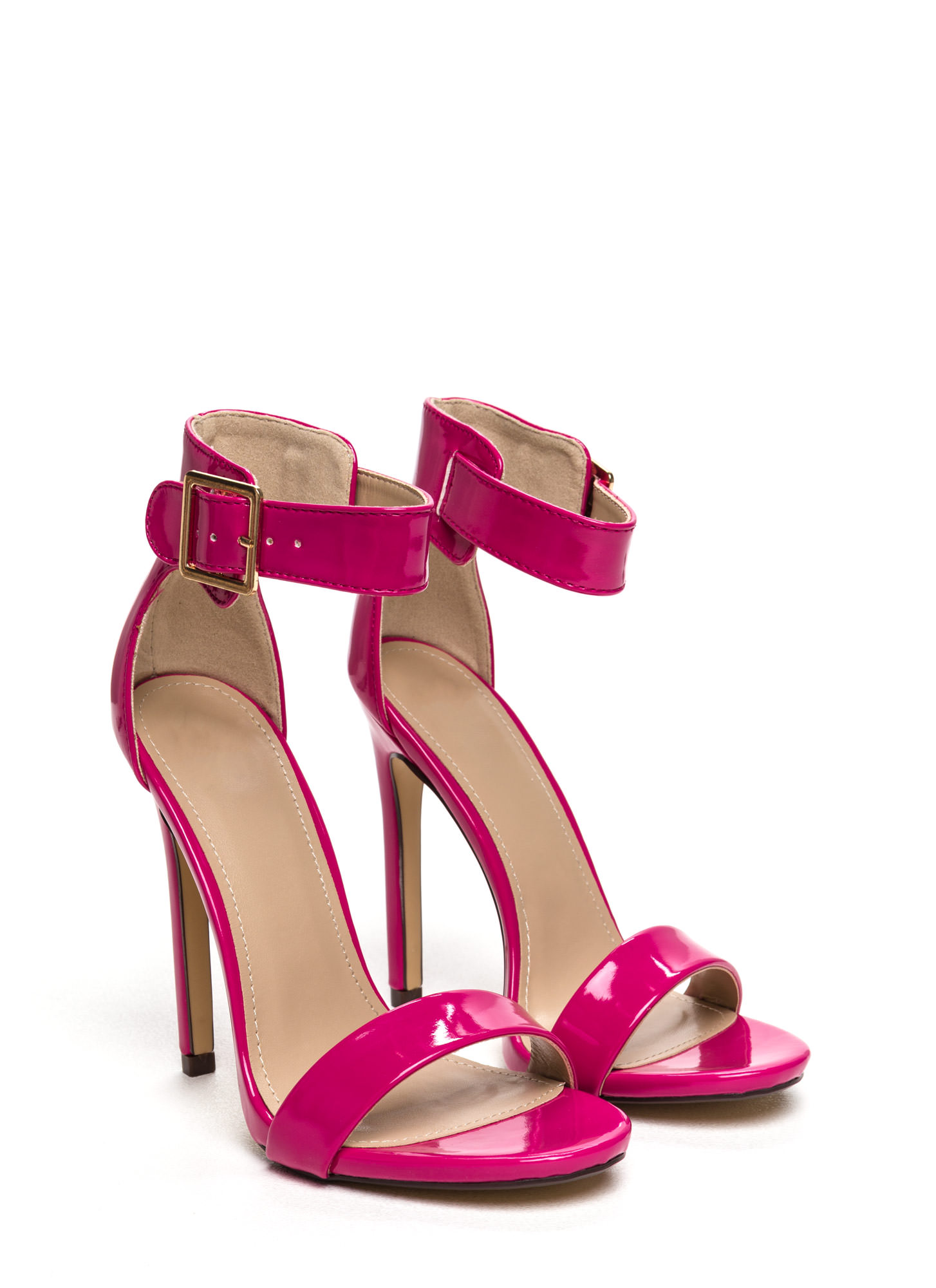 Strapped On Faux Patent Heels HOTPINK