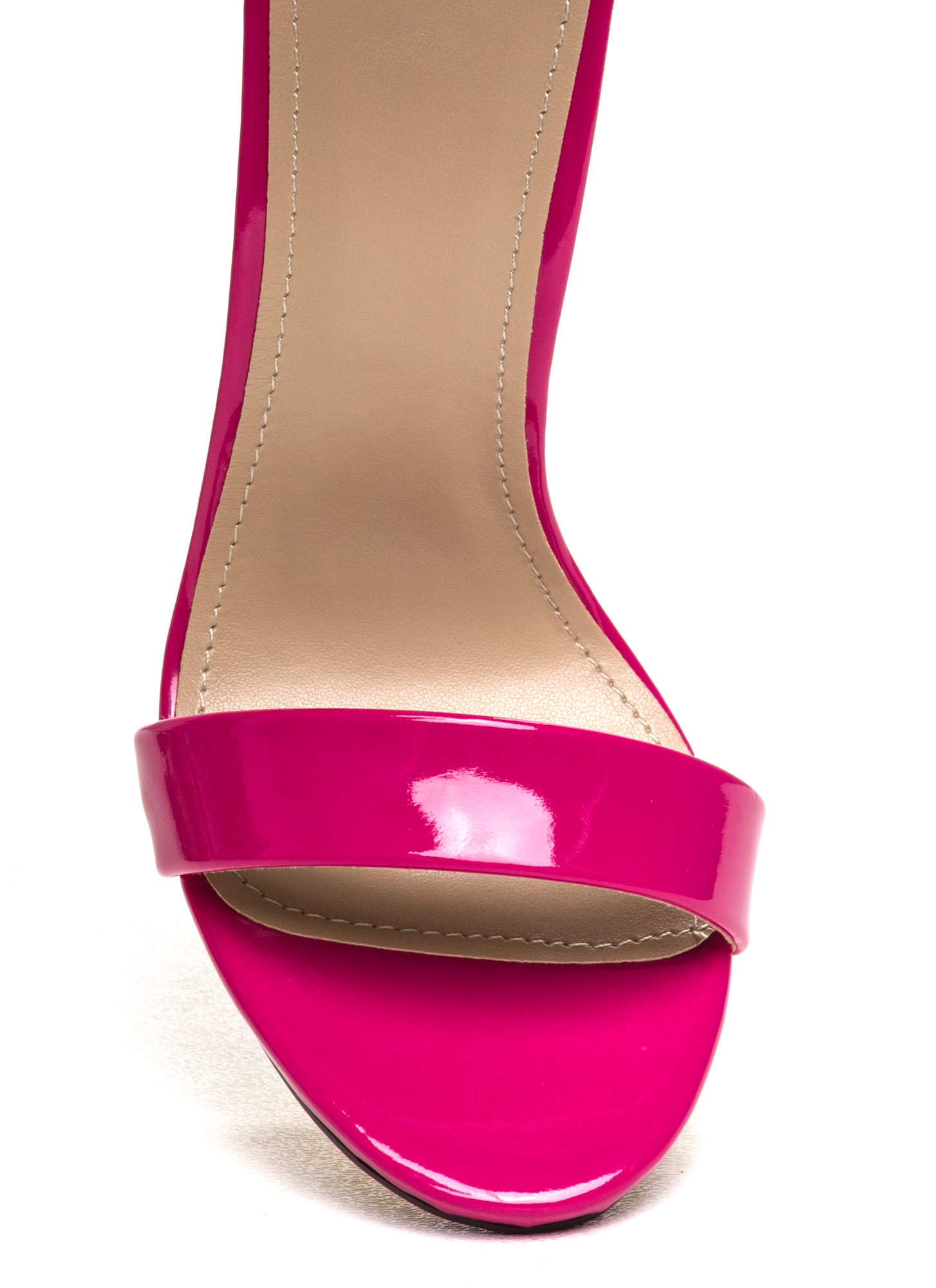 Strapped On Faux Patent Heels HOTPINK (Final Sale)