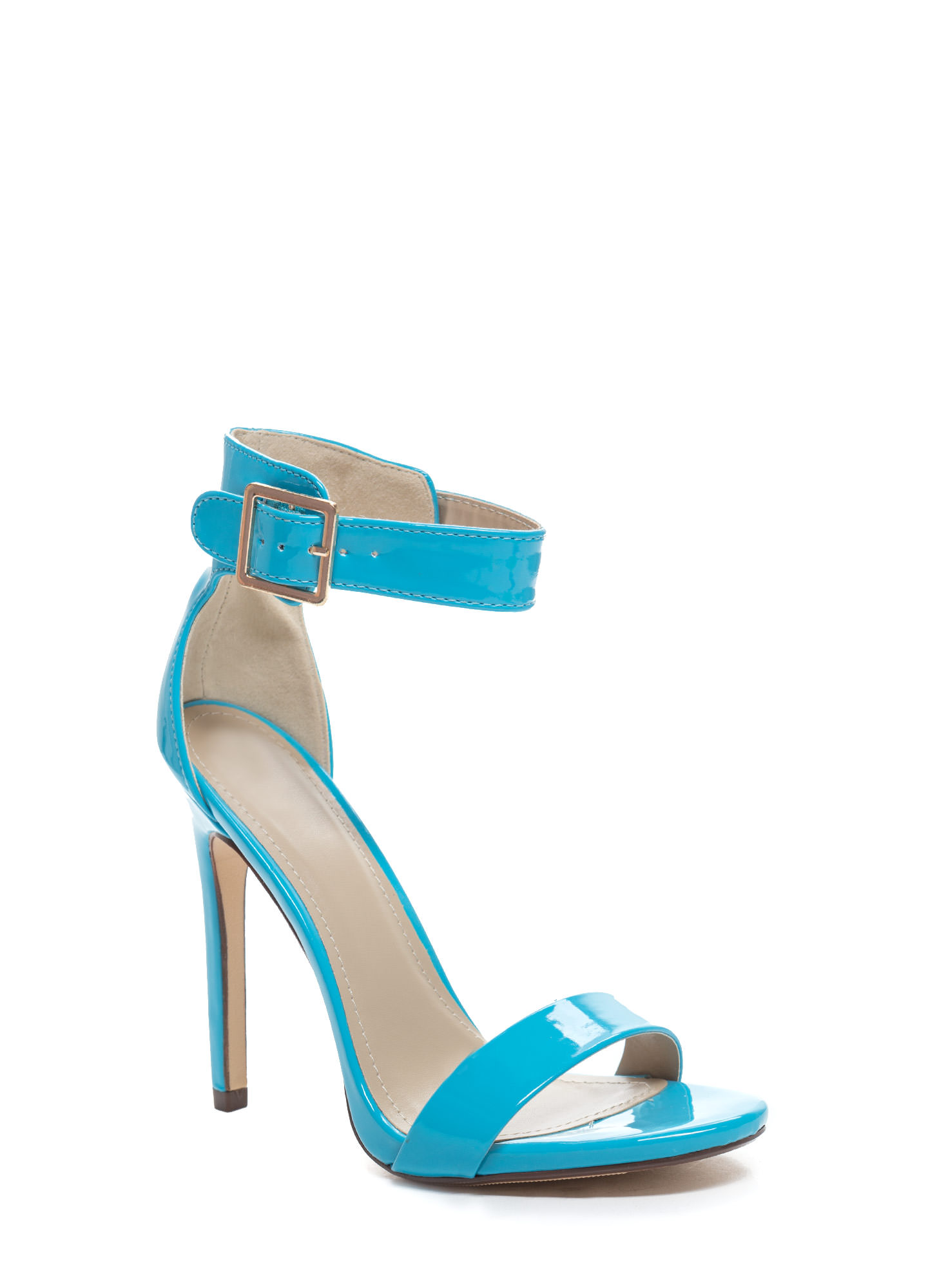 Strapped On Faux Patent Heels LTTURQUOISE (Final Sale)
