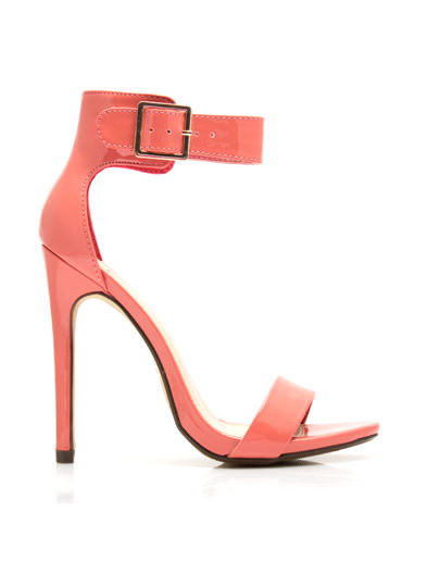 Strapped On Faux Patent Heels SALMON (Final Sale)