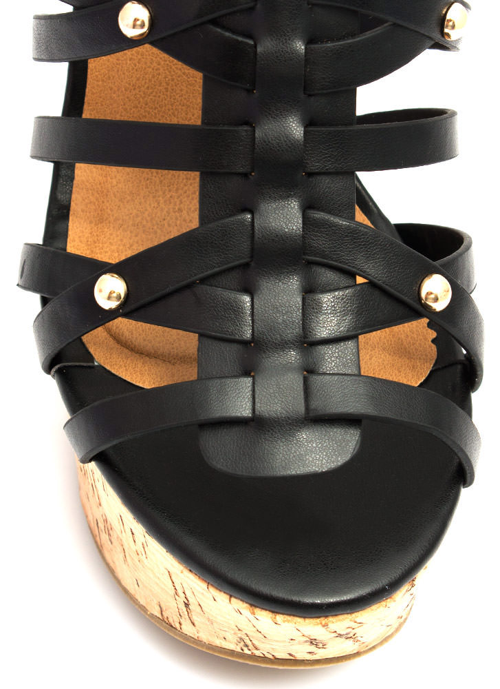 Be Strappy Cork Wedges BLACK