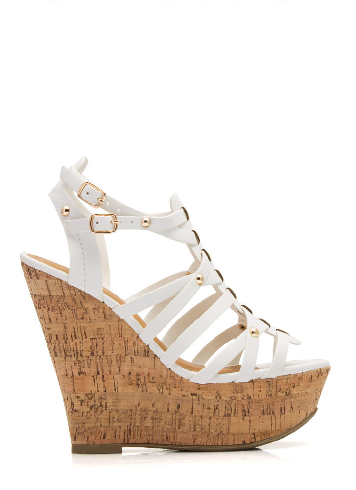 Be Strappy Cork Wedges WHITE