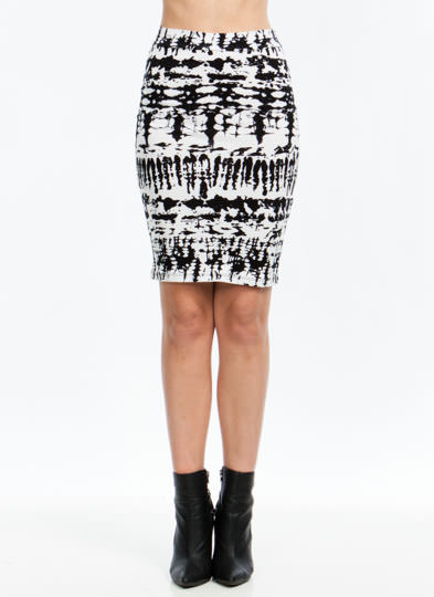 Abstract Blotted Pencil Skirt BLACKWHITE
