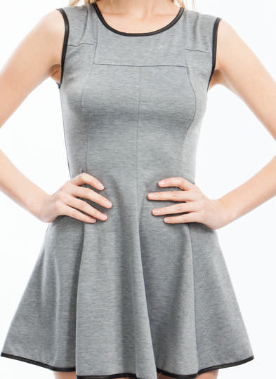 Pipe Down High-Low Skater Dress GREY