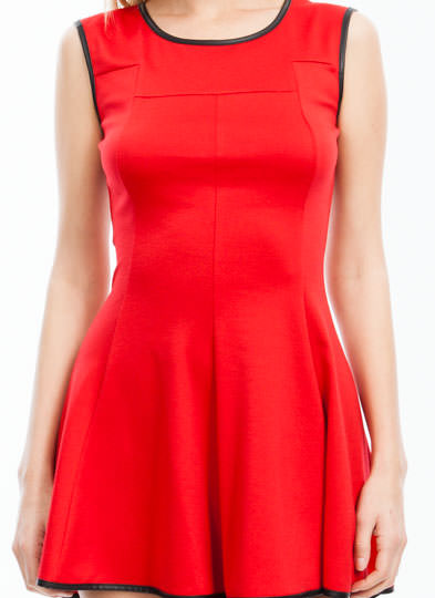 Pipe Down High-Low Skater Dress RED