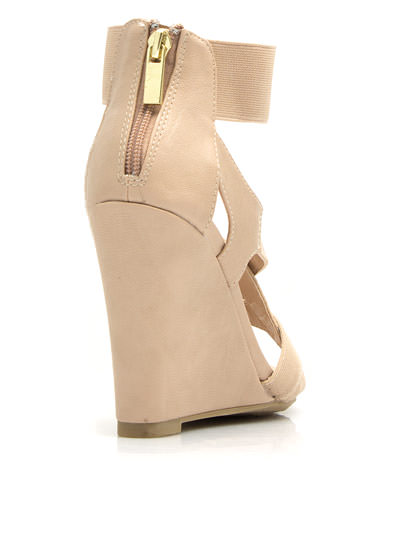 Double Cross Me Strappy Wedges NUDE