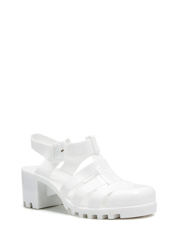 Totally Nineties Jelly Sandals WHITE