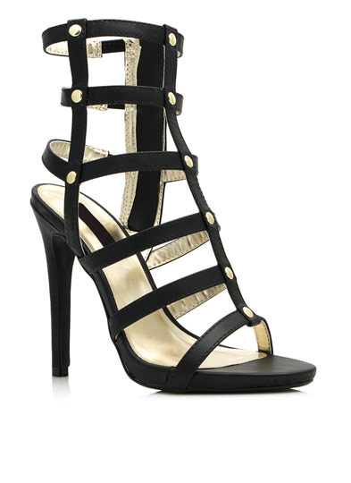 Caged In Gladiator Heels BLACK