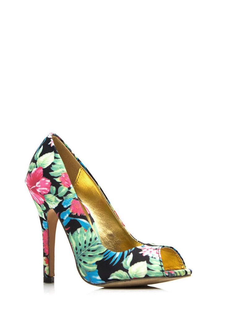 Tropical Zone Peep-Toe Heels BLACK
