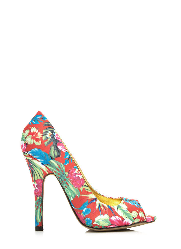 Tropical Zone Peep-Toe Heels RED
