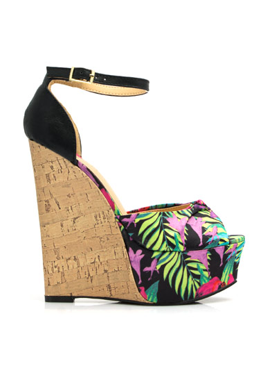 Tropical Oasis Faux Cork Wedges BLACK