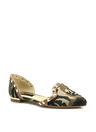 Studded Camo Pointy Flats CAMOUFLAGE