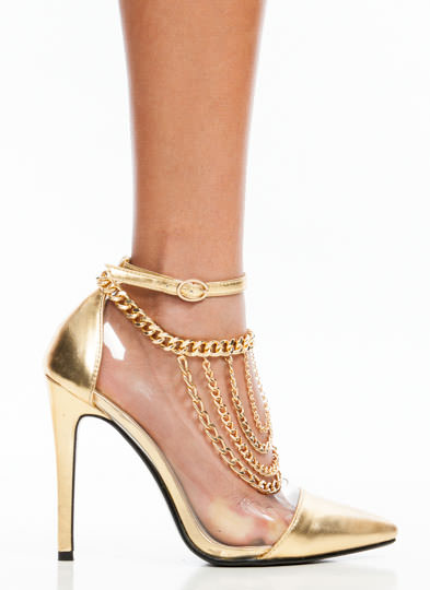 Draped In Chains Ankle Bracelet GOLD