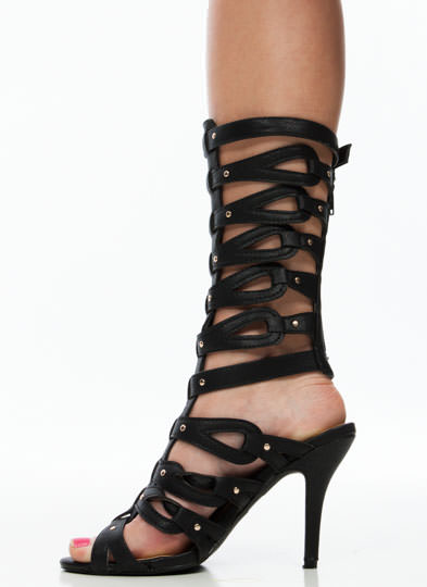 Loop Dreams Studded Gladiator Heels BLACK