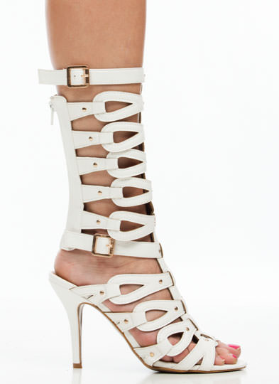 Loop Dreams Studded Gladiator Heels WHITE