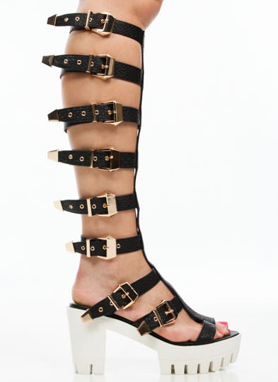 Arena Girl Gladiator Heels BLACK