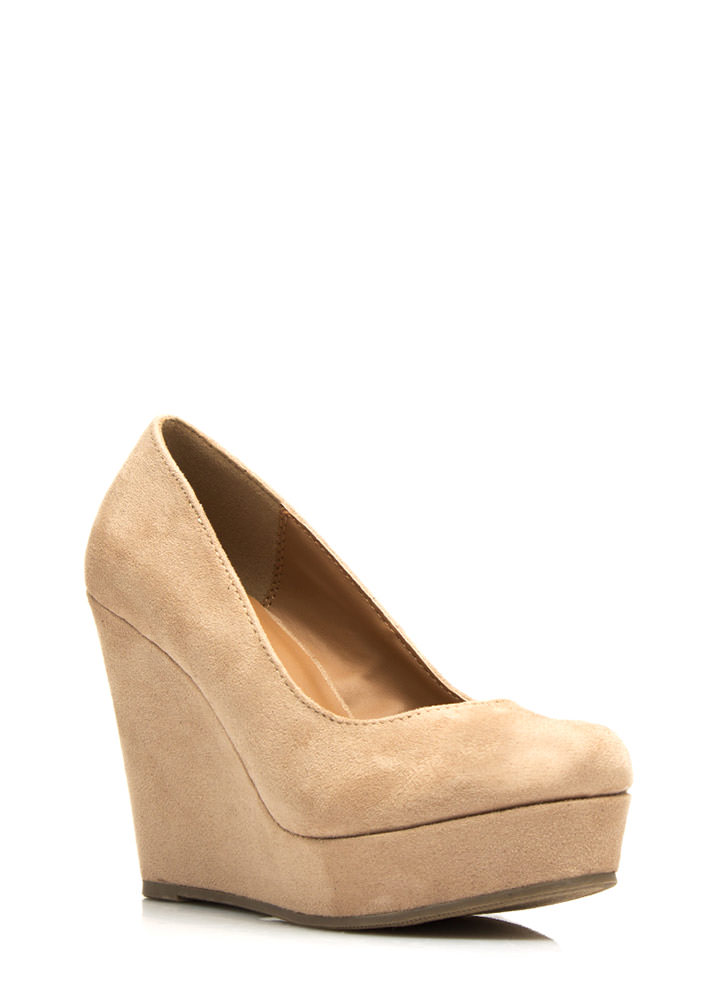Plain And Simple Faux Suede Wedges OATMEAL