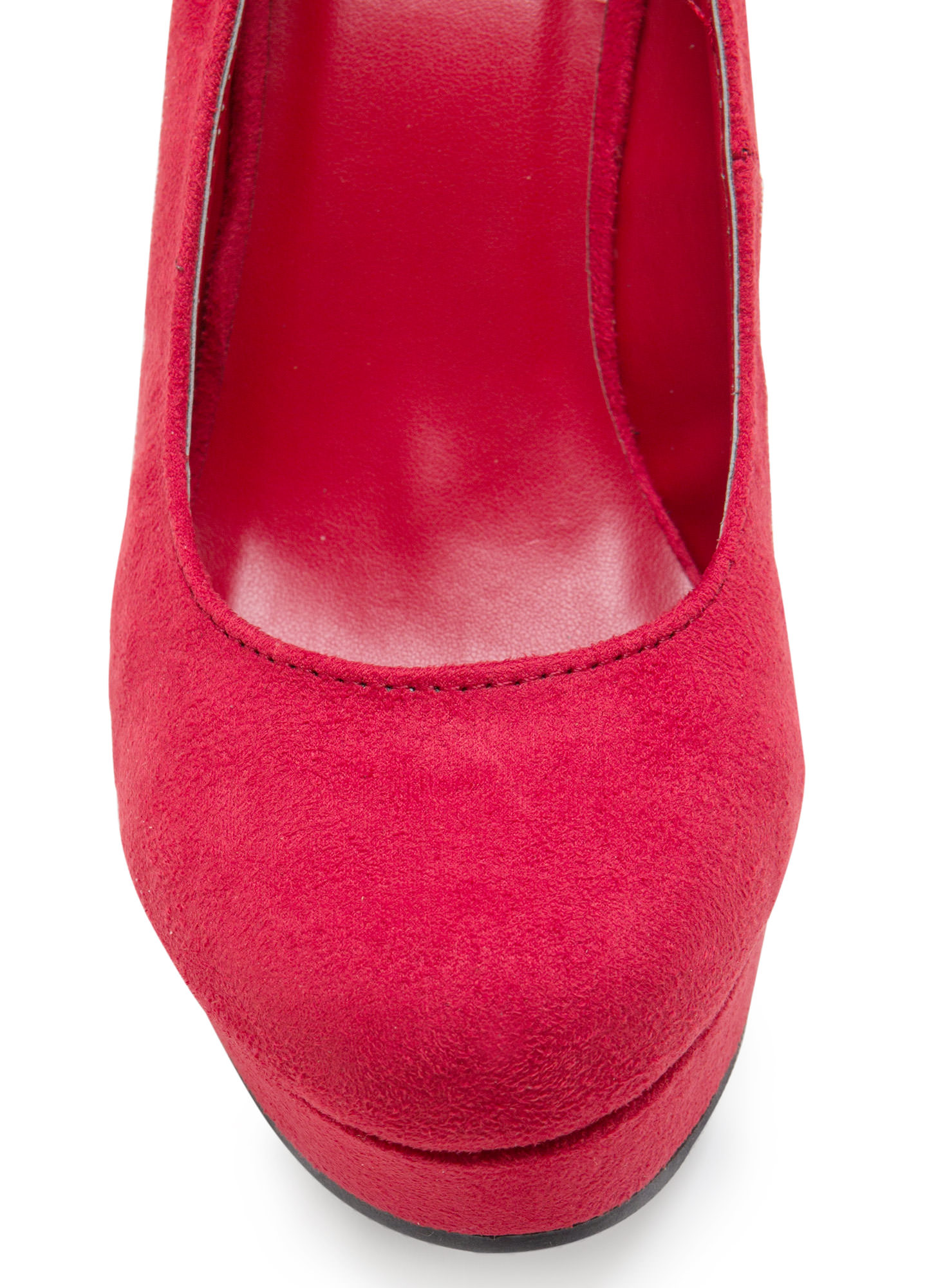 Plain And Simple Faux Suede Wedges RED