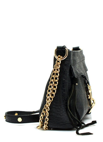 Chain-ge It Up Faux Leather Purse BLACK