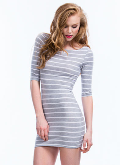 Simply Stripes Bodycon Dress GREY