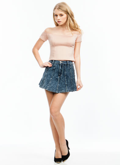 Join The Panels Flared Denim Skirt BLUE