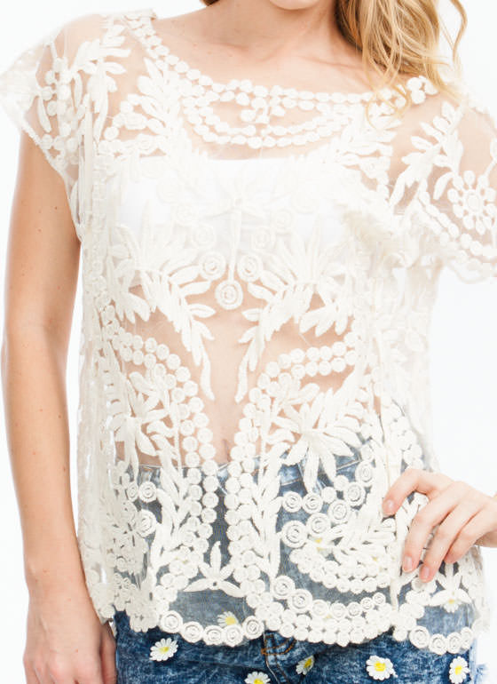 Take Leaf Embroidered Mesh Top IVORY