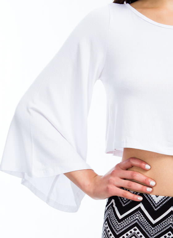 Ring My Bell Sleeve Rayon Top WHITE