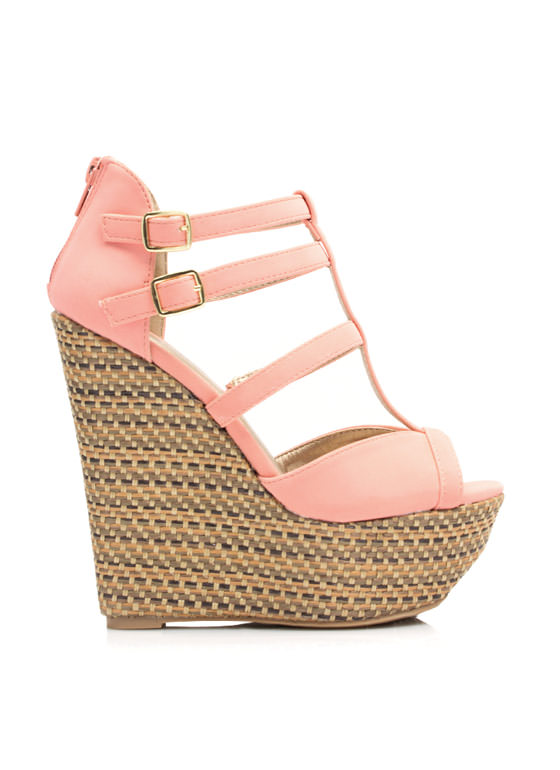 Basket Weave T-Strap Wedges SALMON