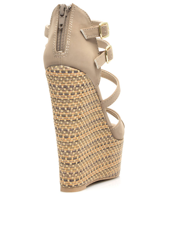 Basket Weave T Strap Wedges TAUPE (Final Sale)